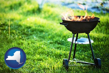 a round barbecue grill - with New York icon