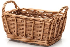 a wicker basket with two handles