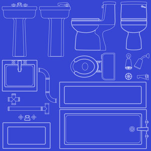 a bathroom fixtures blueprint