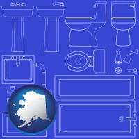 ak map icon and a bathroom fixtures blueprint