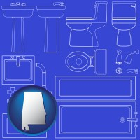 al map icon and a bathroom fixtures blueprint