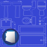 arizona map icon and a bathroom fixtures blueprint