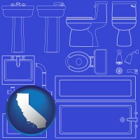 california map icon and a bathroom fixtures blueprint