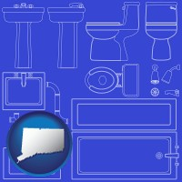 ct map icon and a bathroom fixtures blueprint