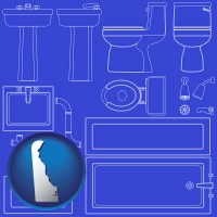 de map icon and a bathroom fixtures blueprint