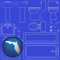 fl map icon and a bathroom fixtures blueprint