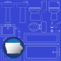 iowa map icon and a bathroom fixtures blueprint