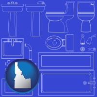 id map icon and a bathroom fixtures blueprint