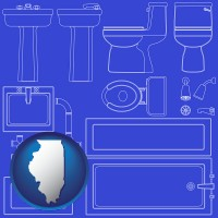 il map icon and a bathroom fixtures blueprint