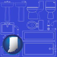 indiana map icon and a bathroom fixtures blueprint
