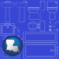louisiana map icon and a bathroom fixtures blueprint
