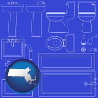 massachusetts a bathroom fixtures blueprint
