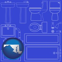 maryland map icon and a bathroom fixtures blueprint