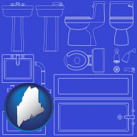 me map icon and a bathroom fixtures blueprint