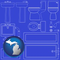 mi map icon and a bathroom fixtures blueprint