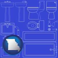 missouri map icon and a bathroom fixtures blueprint