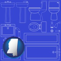 mississippi a bathroom fixtures blueprint