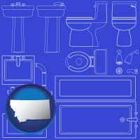 montana map icon and a bathroom fixtures blueprint