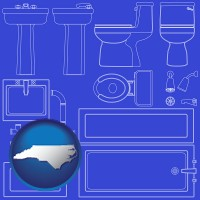 nc map icon and a bathroom fixtures blueprint