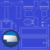 ne map icon and a bathroom fixtures blueprint