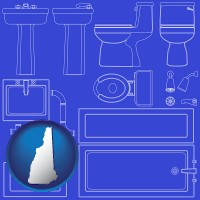 nh map icon and a bathroom fixtures blueprint