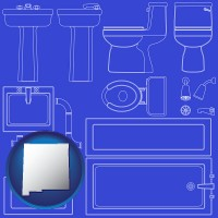 new-mexico map icon and a bathroom fixtures blueprint