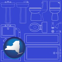 new-york map icon and a bathroom fixtures blueprint
