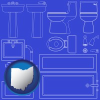 oh map icon and a bathroom fixtures blueprint