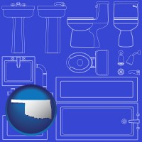 ok map icon and a bathroom fixtures blueprint