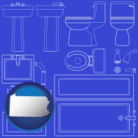 pennsylvania a bathroom fixtures blueprint