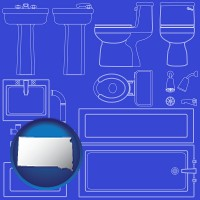 sd map icon and a bathroom fixtures blueprint