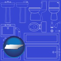tennessee map icon and a bathroom fixtures blueprint