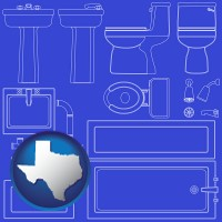 tx map icon and a bathroom fixtures blueprint