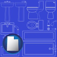 utah map icon and a bathroom fixtures blueprint