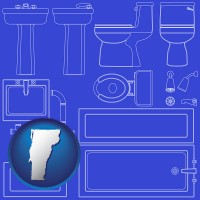 vermont map icon and a bathroom fixtures blueprint