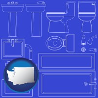 washington map icon and a bathroom fixtures blueprint