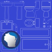 wisconsin map icon and a bathroom fixtures blueprint