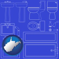 west-virginia map icon and a bathroom fixtures blueprint