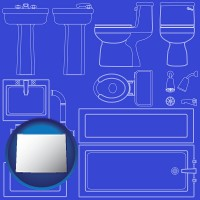 wy map icon and a bathroom fixtures blueprint