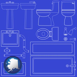 a bathroom fixtures blueprint - with Alaska icon