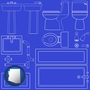 a bathroom fixtures blueprint - with Arizona icon