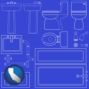 a bathroom fixtures blueprint - with California icon