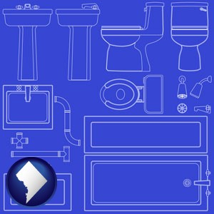 a bathroom fixtures blueprint - with Washington, DC icon