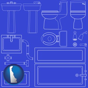 a bathroom fixtures blueprint - with Delaware icon