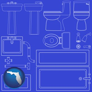 a bathroom fixtures blueprint - with Florida icon