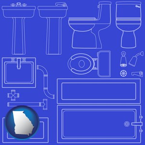 a bathroom fixtures blueprint - with Georgia icon