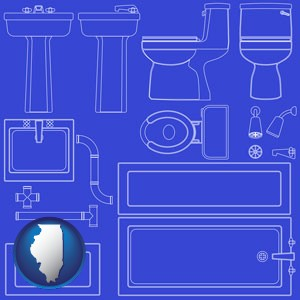 a bathroom fixtures blueprint - with Illinois icon