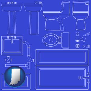 a bathroom fixtures blueprint - with Indiana icon