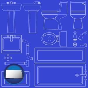 a bathroom fixtures blueprint - with Kansas icon