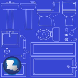 a bathroom fixtures blueprint - with Louisiana icon
